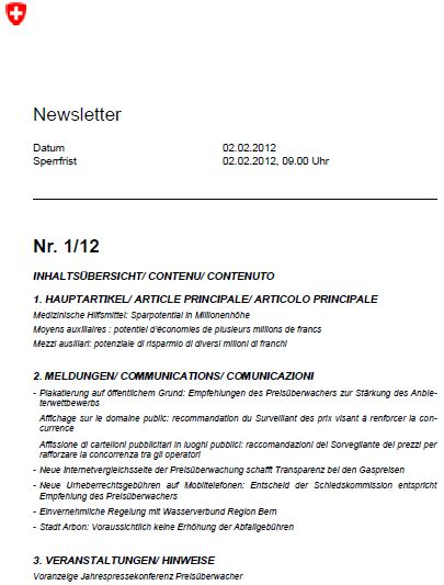Newsletter Titelblatt 1 / 12